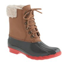 Crew - Womens Sperry Top-Sider® for J.Crew Shearwater boots Ugg boots give them to me now and I mean now because if my friends saw me wearing them they would freak out. Sperry Top Sider Boots, Sperry Boots, Winter Wear, Autumn Winter Fashion, Winter Style, Jcrew Gifts, Stylish Winter Boots, Casual Boots, Cool Boots