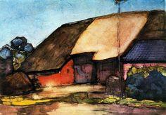 Small farm on Nistelrode, Gouache by Piet Mondrian (1872-1944, Netherlands)
