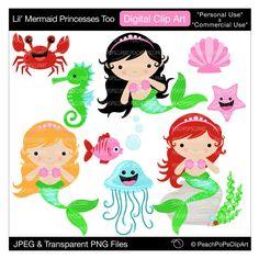 cute mermaid clipart digital clip art little sea horse fish original - Lil Mermaid Princesses Too - Personal Commercial Use. $5.00, via Etsy.