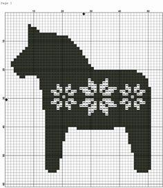 The Dala Horse or Dalecarlian horse is a popular Swedish handicraft and souvenir. - The Dala Horse or Dalecarlian horse is a popular Swedish handicraft and souvenir. The name comes fr - Cross Stitch Alphabet, Cross Stitch Animals, Cross Stitch Charts, Cross Stitching, Cross Stitch Embroidery, Embroidery Patterns, Modern Cross Stitch Patterns, Cross Stitch Designs, Dala Horse
