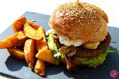 Irish Angus Vollkorn-Burger mit Guacamole, Pilzen und Ziegenkäse | SchokoladenFee