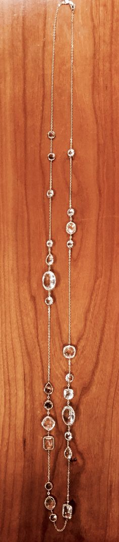 """Clear Quartz 34"""" necklace in 14k yellow gold at Leo Alfred Jewelers of Dublin, OH"""
