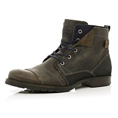 Grey casual lace up boots