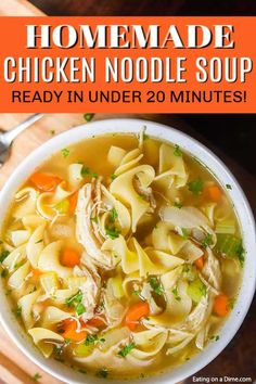 You can enjoy this homemade chicken noodle soup recipe in just 20 minutes. If you crave soup, this is the best homemade chicken noodle soup cooked on the stove. This simple, healthy recipe for chicken noodle soup is perfect for cold weather and colds. Easy Homemade Chicken Noodle Soup Recipe, Best Chicken Noodle Soup, Chicken Soup Recipes, Easy Soup Recipes, Healthy Chicken Recipes, Vegetarian Recipes, Recipe Chicken, Keto Chicken, Dinner Recipes