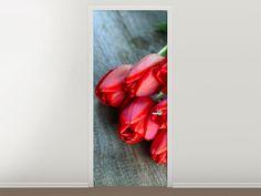 Tür #Tapete Der rote Tulpenstrauss