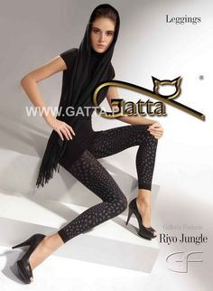 7/8 Leggins mit Leopardenmuster Riyo Jungle in schwarz