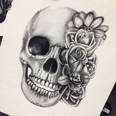 beautiful skull tattoos for women - Google Search                                                                                                                                                                                 More