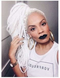 YES! This is what Starkeeper hair looks like! Pure white and kept in box braids or twists. <3 This gal is beautiful!