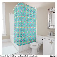 Pastel Boho Gold Dog Star Bohemian Queen Shower Curtain