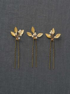 Gold Small Wedding Hair Combs   ADELE HAIRPIN   Davie & Chiyo