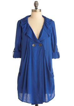 Busy Week Tunic in Blue - Long, Casual, Blue, Solid, Buttons, Pockets, Long Sleeve, 3/4 Sleeve, Best Seller