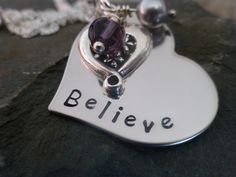 Heart hand stamped metal necklace believe by lauriebale on Etsy, £11.00