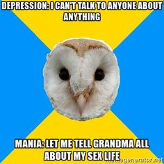 Bipolar owl haha - I don't relate to him quite as much as I do to my main man Chronic Illness Cat, but this owl can make me howl, anyway!