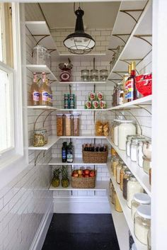 A Fancy Pantry - a tiled pantry with lots of shelves!