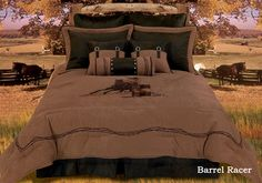 Luxury Barrel Racing Western Cowgirl Bedding Comforter Ensemble Accessories - Embroidered Faux Suede - my bedding ♥ queen size