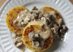 Recipe: Fried Polenta with Crimini Mushroom Sauce