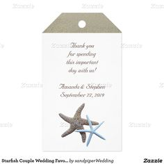 Starfish Couple Wedding Favor Gift Tags Pack Of Gift Tags