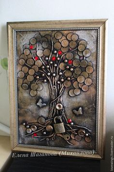 Art made with coins Coins Tree Coins art penny art .cool things to make with coins - Art coins Cool Penny tree - DiyForYou Wood Block Crafts, Metal Crafts, Button Art, Button Crafts, Vintage Jewelry Crafts, Jewelry Art, Coin Crafts, Glue Art, Tree Of Life Art