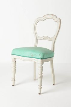 Turquoise + white-washed chair