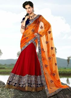 his beautiful red and bright orange faux georgette and net lehenga style saree.@ http://www.shadesandyou.com/product-category/lehngas/  #LehengaSarees #LehengaCholi #BridalLehengas