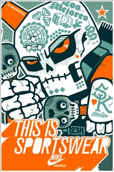 Nike Mexico invited 8 artists (Joe Ledbetter, BigFoot, Jason Maloney, Jesse Reno, Morbito, Carlos Ramos and Popwhore.) to promote the grand opening of the first Nike Sportswear store in Mexico City in 2008. The 3 posters included a gangsta chicano, a luchador wrestler, and a mexican tattooed skull.