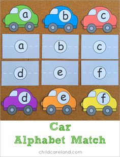 Car alphabet match for letter recognition and review.
