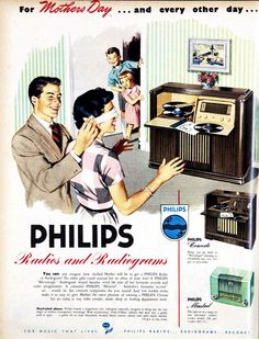 - Philips Radios and Radiograms in Mother's Day Advertisement Retro Advertising, Retro Ads, Vintage Advertisements, Radios, Vintage Records, Vintage Posters, Tarzan, Lps, Pub Vintage