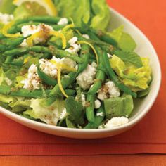 Green Bean & Feta Salad With Red Wine Vinaigrette Recipe Salads with green beans, wish bone red wine vinaigrett dress, chopped cilantro fresh, onion, lemon, salt, ground black pepper, Boston lettuce, feta cheese