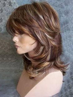 Medium Side Bang Highlighted Layered Slightly Curled Synthetic Wig - Frisuren Medium Hair Cuts, Long Hair Cuts, Medium Hair Styles, Curly Hair Styles, Natural Hair Styles, Long Hair Short Layers, Thin Hair, Medium Length Hair Cuts With Layers, Choppy Layers