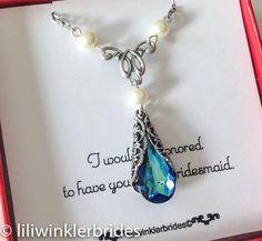 Bridesmaid Gift  Bermuda Blue Peacock Crystal by liliwinklerbrides, $32.00