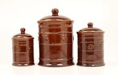 Brown Silverado Canister 3pc Set  http://www.renegadestores.com/store/6105004%21MaF/Brown+Silverado+Canister+3pc+Set
