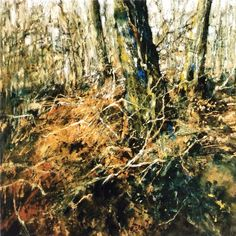 Sarah Bee 'In the Woods at King Alfred's Tower' acrylic and pastel.