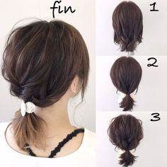 Simple ponytail arrangement (^ ^) 1 to tie three shells . Frisuren,, Simple ponytail arrangement (^ ^) 1 to tie three shells . 2019 Source by Work Hairstyles, Pretty Hairstyles, Medium Hair Styles, Curly Hair Styles, Short Hair Updo, Ponytails For Short Hair, Long Bob Updo, Short Hair Hairstyles Easy, Loose Updo