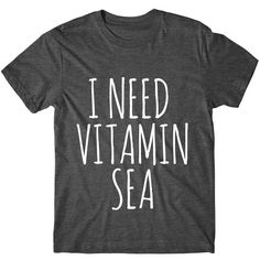 Metallic Gold Print I Need Vitamin Sea Graphic Tshirt Womens Graphic... ($14) ❤ liked on Polyvore featuring tops, t-shirts, black, women's clothing, metallic gold t shirt, fluorescent t shirts, tee-shirt, pattern t shirt and loose fit t shirts