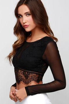26bef818e8ad2 Mesh California Black Lace Long Sleeve Crop Top