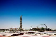 Khalifa International Stadium and the 984-foot-tall Aspire Tower in the #Doha Sport City complex. #Qatar #Qatarism