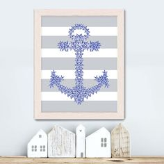 Blue Anchor Print - starfish anchor  Nautical print Anchor wall decor bathroom decor Bathroom wall art nautical Bedroom wall art Coastal art