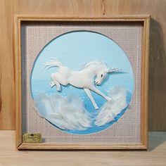 Vintage 3D WHITE FEATHER ART UNICORN Shadow Box in Oak Frame #Feather #Art #Unicorn #ShadowBox