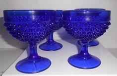Cobalt Blue Hobnail Sherbert/Dessert Glasses Vintage L.E. Smith Set Of 4