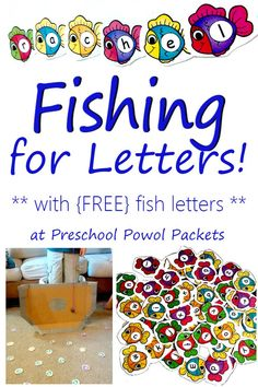 FUN fishing for letters activity! Perfect for letter recognition, letter sounds, and sight word reading in preschool, kindergarten, and 1st grade!