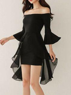 Off Shoulder Plain Bell Sleeve Bodycon Dress # Fashion dresses Bodycon Outfits, Dress Outfits, Fashion Dresses, Cute Outfits, Maxi Dresses, Casual Dresses, Classy Outfits, Elegant Dresses, Work Outfits