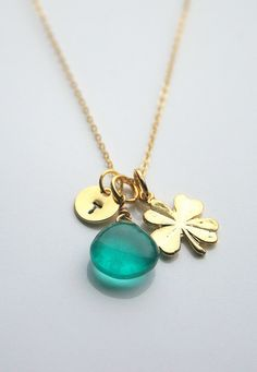 Green chalcedony, gold clover leaf, initial charm, necklace - LUCKY CHARM on Etsy, $43.46
