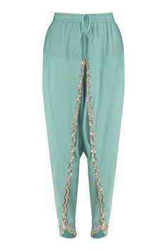 Aqua blue embroidered baroque kurta with tulip pants available only at Pernia's Pop Up Shop. Kurti Designs Party Wear, Salwar Designs, Blouse Designs, Dress Indian Style, Indian Wear, Tulip Pants, Fashion Pants, Fashion Outfits, Salwar Pants
