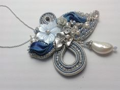 Flowers of freedom pendent - OOAK SOUTACHE and SHIBORI pendent-