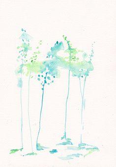 Turquise Cornflower Art Painting  Original watercolor by mallalu, $55.00