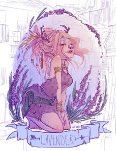 Dream of lavender scent by Fukari on deviantAR like the idea of drawing flower people Manga, Art Magique, Wow Art, Animation, Arte Pop, Character Drawing, Character Design Inspiration, Cute Illustration, Poster