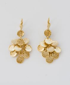 made [with love] in India ::: Hammered Drop Earrings, Gold