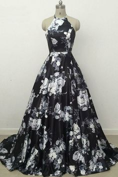 Sweep Train A-Line Halter Sleeveless Long Printed Prom Dress