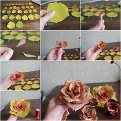We+have+often+seen+a+variety+of+ways+to+make+paper+or+fabric+roses,+but+have+you+ever+seen+roses+made+with+real leaves?+Here+is+an+amazing+DIY+project+to+make+roses+from+autumn+leaves.+What a+creative+idea+to+use… Leaf Crafts, Flower Crafts, Fall Crafts, Diy And Crafts, Leaf Flowers, Diy Flowers, Paper Flowers, Wedding Flowers, How To Make Rose