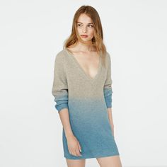 Laluna Autumn Winter Women Sweaters Gradient Color Sexy V-neck Long Sleeve Loose Knitted Sweaters And Pullovers Free Shipping